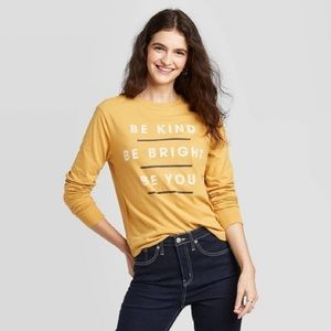 Be Kind Be Bright Be You Long Yellow Sleeve Top